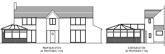 dwarf wall picture showing the side and rear of a house we have drawn